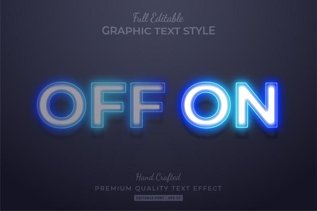 Neon off on modificabile 3d effetto stile di testo premium