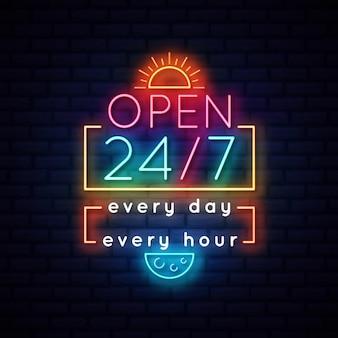 Segno al neon aperto 24 ore su 24