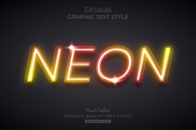 Neon arancione bagliore modificabile stile carattere effetto testo