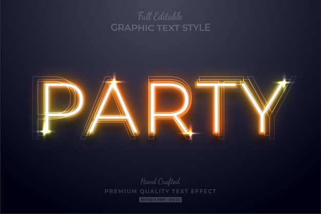 Neon orange party testo modificabile effetto stile carattere