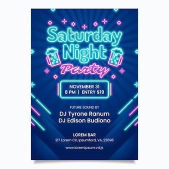 Modello di progettazione di poster per feste al neon