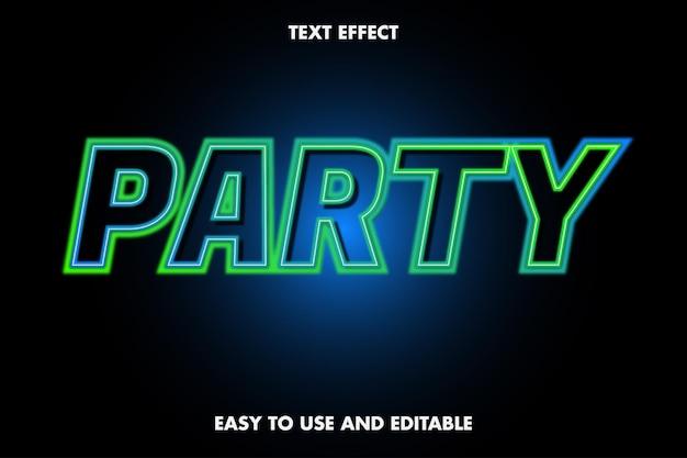 Effetto testo festa al neon. carattere modificabile.