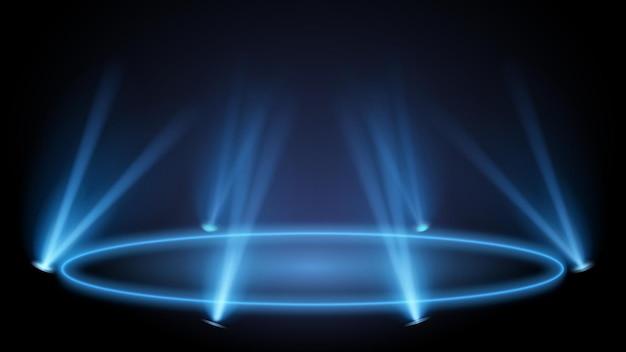 Piedistallo al neon con luci. presentazione su podio e piedistallo, pavimento luminoso della vetrina. illustrazione vettoriale, fase di illuminazione ad effetto