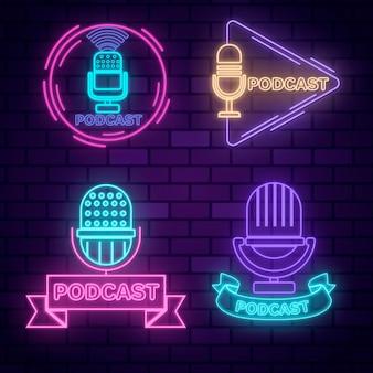 Collezione di logo podcast al neon