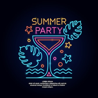 La festa estiva con poster al neon. pubblicità viaggi in vacanza al mare.