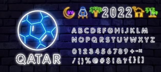 Neon qatar con alfabeto in stile neon modello di progettazione di sfondo del torneo di calcio del torneo di calcio ...