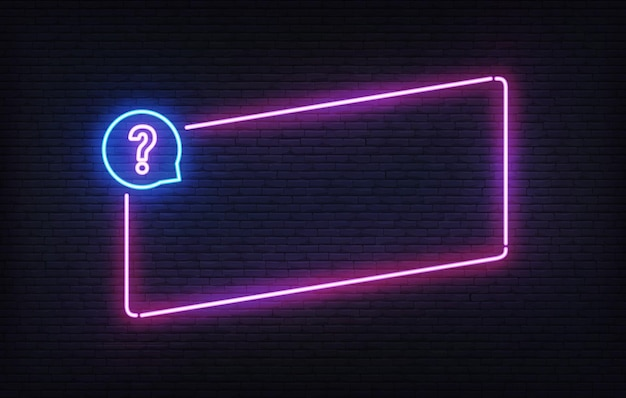 Modello di cornice per quiz al neon. modello di progettazione banner luce inclinazione viola. insegna rettangolare incandescente.