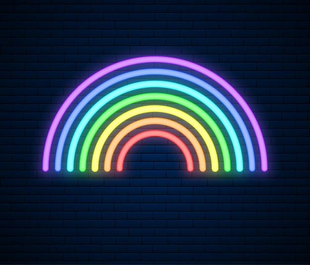Illustrazione di segno arcobaleno al neon