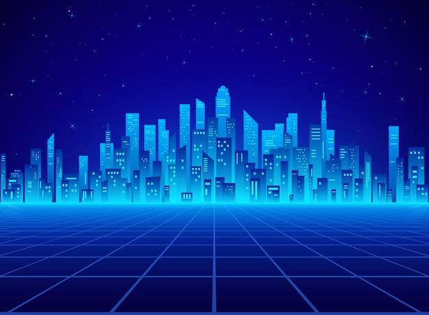 Paesaggio della città retrò al neon nei colori blu
