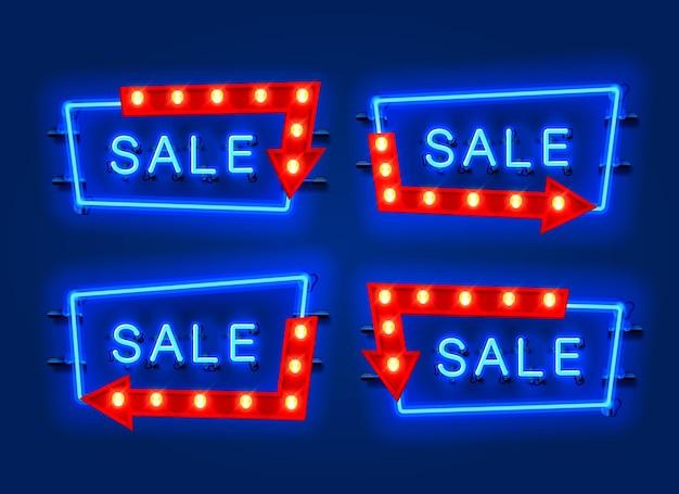 Insieme di set di freccia cornice di vendita al neon. elemento di design del modello.