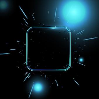 Concetto di schermo al neon. illustrazione vettoriale di annuncio futuristico della luce laser