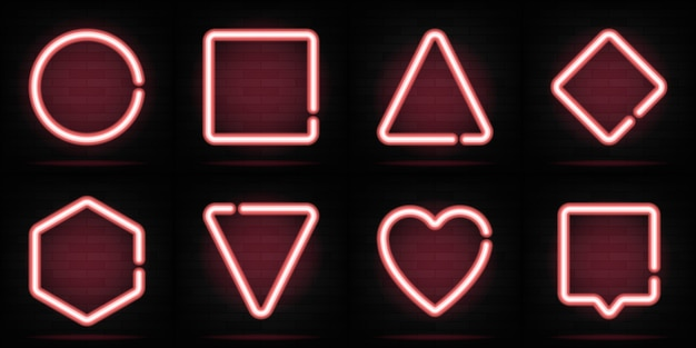 Set di forme al neon. triangolo, esagono, cerchio, cuore, quadrato. figure alla moda luminose per testo o iscrizione. collezione di banner di luce al neon.