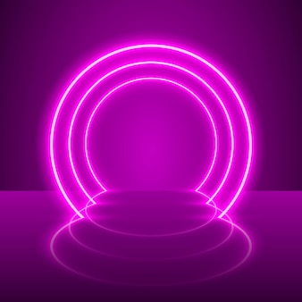 Sfondo viola podio chiaro spettacolo al neon. illustrazione vettoriale