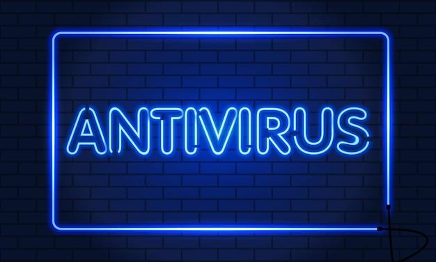 Antivirus per insegne al neon in una cornice sulla priorità bassa del muro di mattoni