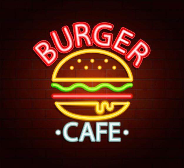 Segno al neon del caffè hamburger. Vettore Premium