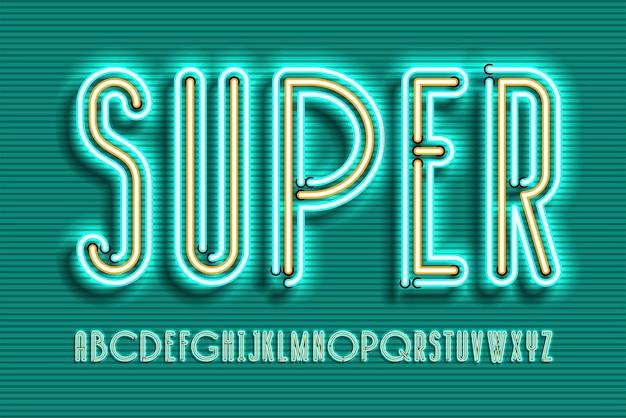 Insegna al neon lampada font design, alfabeto, set di caratteri, carattere tipografico, tipografia, lettere retrò luce di elettricità.