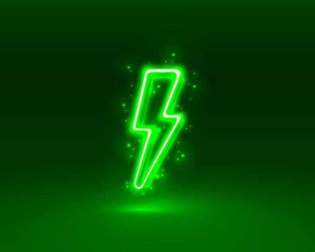 Insegna al neon dell'insegna del fulmine sullo sfondo verde vettore