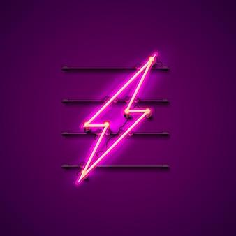 Insegna al neon dell'insegna del fulmine sui precedenti viola. illustrazione vettoriale