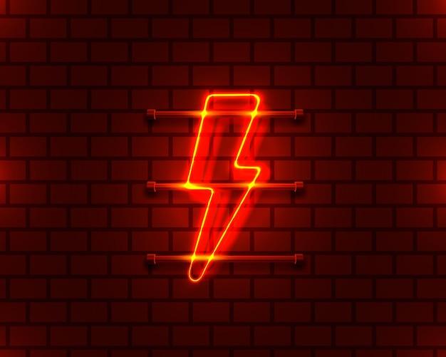 Insegna al neon dell'insegna del fulmine sullo sfondo rosso vettore