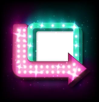 Insegna al neon con freccia e luci incandescenti