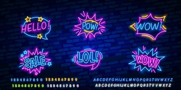 Insegna al neon con fumetto comico con testo di espressione