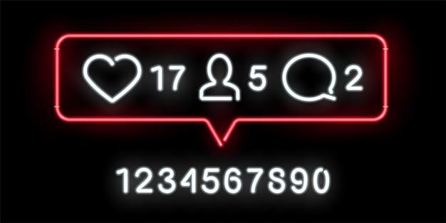 Insegna al neon con indicatori di attività sui social network. mi piace, commenti, quantità di follower significativi.