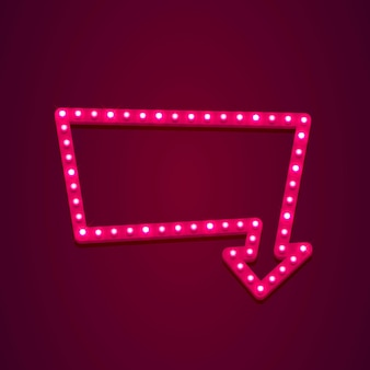 Insegna al neon con freccia aperta di testo, l'ingresso è disponibile. illustrazione vettoriale
