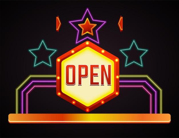 Insegna al neon con stelle e linee geometriche. banner isolato, segno di grande apertura. annuncio decorativo o effetto lucido per club o casinò. etichetta o emblema realistico. vettore in stile piatto