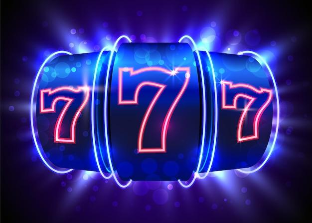 Le monete della slot machine al neon vincono il jackpot. 777 casinò con grandi vincite