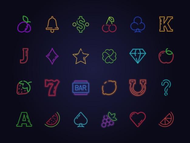 Icona di slot machine al neon. simboli di gioco del casinò gioco d'azzardo ciliegie frutti fortunati trifoglio immagini di diamanti