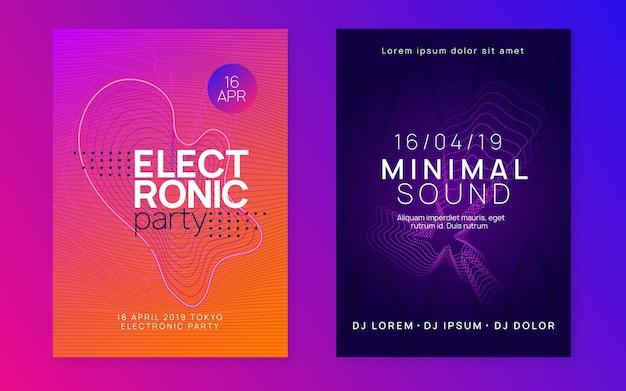 Volantino sonoro al neon. musica elettronica da ballo. evento di festa elettronica. cl