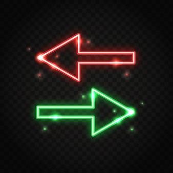 Frecce scintillanti al neon