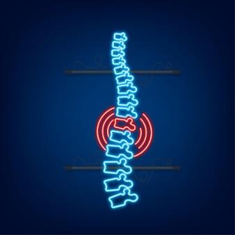 Icona grafica umana della colonna vertebrale al neon. anatomia umana. illustrazione di riserva di vettore.