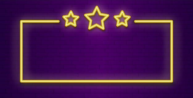 Cornice di stelle al neon. banner vincitore di colore trasparente di illuminazione.