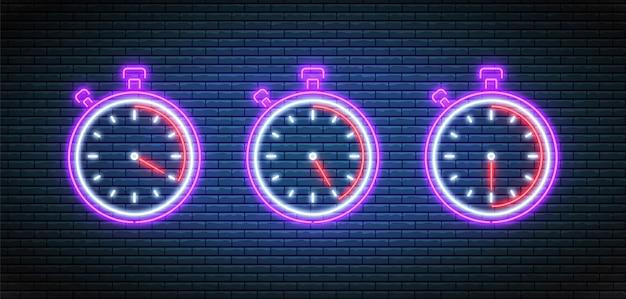 Cronometro al neon. orologi luminosi luminosi. conto alla rovescia impostato.