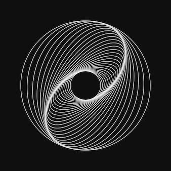 Simbolo vorticoso al neon sfondo a spirale effetto illusione tunnel design astratto con linee e flusso