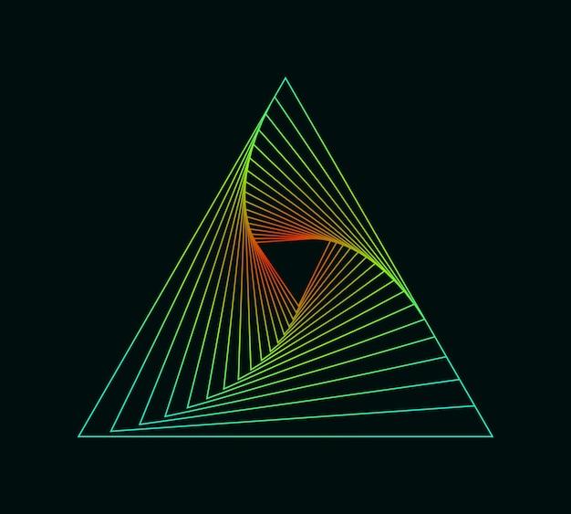 Simbolo vorticoso al neon sfondo a spirale effetto illusione tunnel abstract