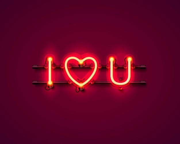 Testo al neon ti amo cartello sullo sfondo rosso. illustrazione vettoriale
