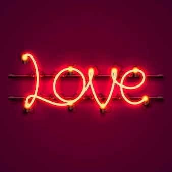 Insegna al neon di amore del testo sui precedenti rossi. illustrazione vettoriale