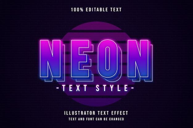 Stile di testo al neon, stile di testo modificabile con effetti di testo rosa sfumati al neon viola Vettore Premium