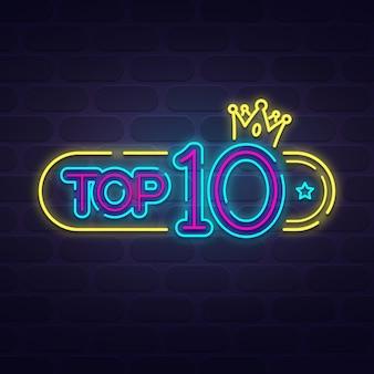 Modello top 10 al neon