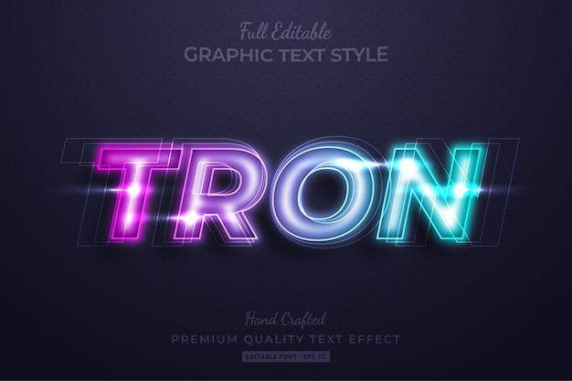 Neon tron modificabile 3d effetto stile di testo premium