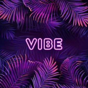 Neon tropic party design, palm viola giungla lascia poster del night club, illustrazione vettoriale esotico di notte vibrante di estate, volantino cyberpunk bagliore luminoso viola, sfondo con posto per il tuo testo