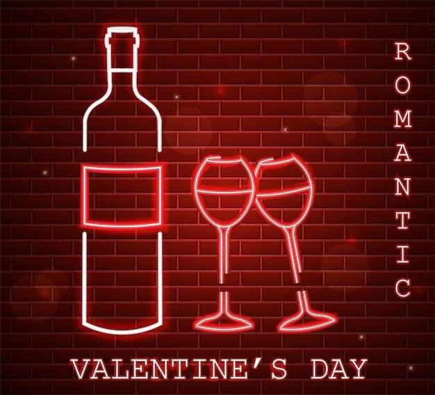 Scheda di giorno di san valentino al neon con bottiglia di vino