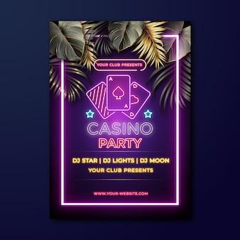 Modello di poster per feste verticali al neon