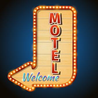 Lampadine al neon del segno del motel dell'annata. segno di benvenuto, cartello o cartellone. Vettore Premium