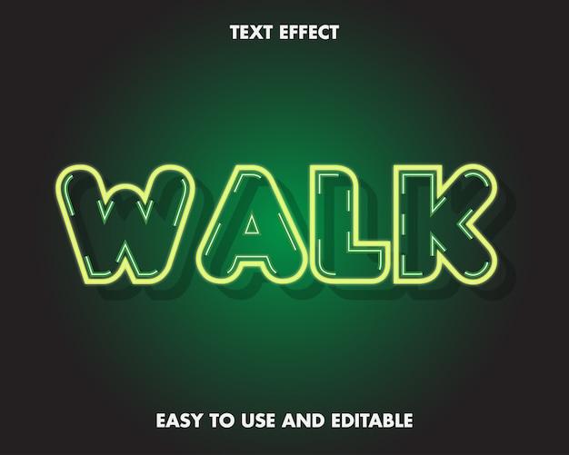 Effetto testo neon walk. stile carattere modificabile.