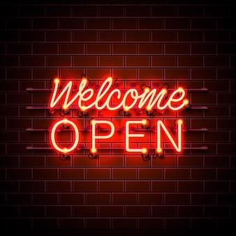 Insegna aperta di benvenuto al neon sullo sfondo del muro di mattoni. illustrazione vettoriale