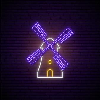 Segno al neon del mulino a vento.