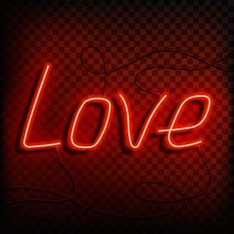 La parola al neon ama un segno rosso brillante su un elemento di design di sfondo trasparente per una valle felice...